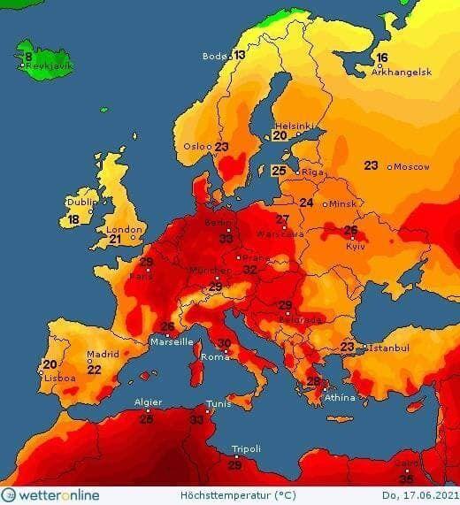 Карта температуры в Украине 17 июня