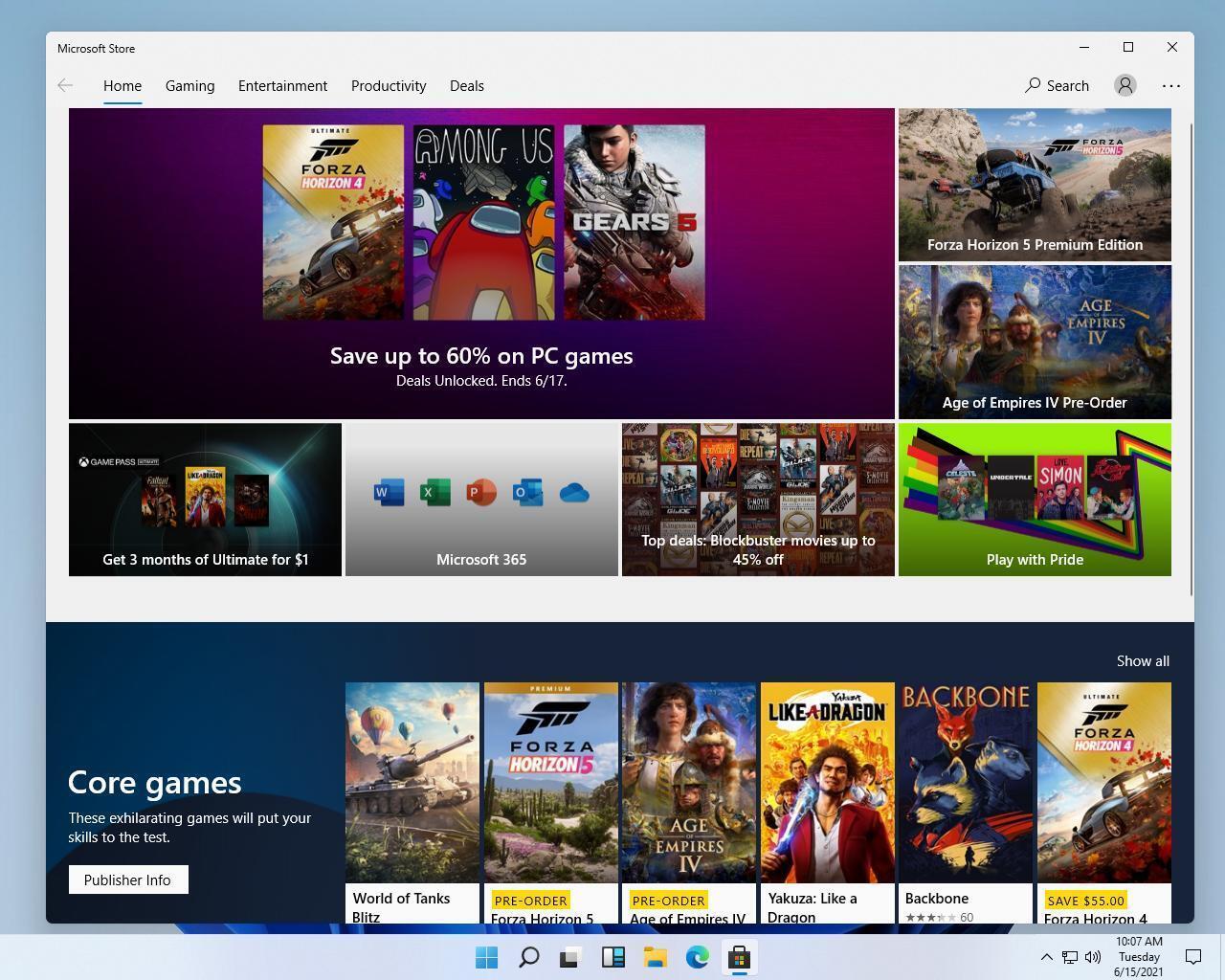 Интерфейс магазина Windows 11 во многом такой же, как и в Windows 10