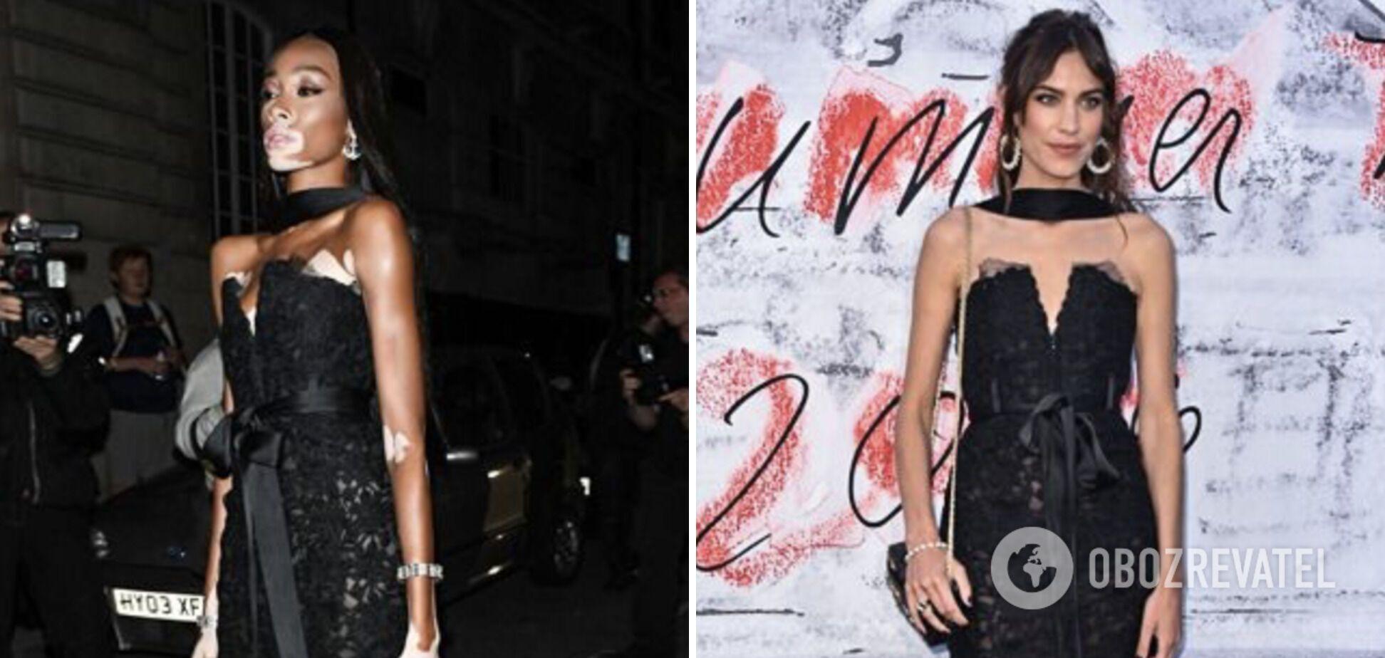 Винни Харлоу и Алекса Чанг в черных платьях с декольте.