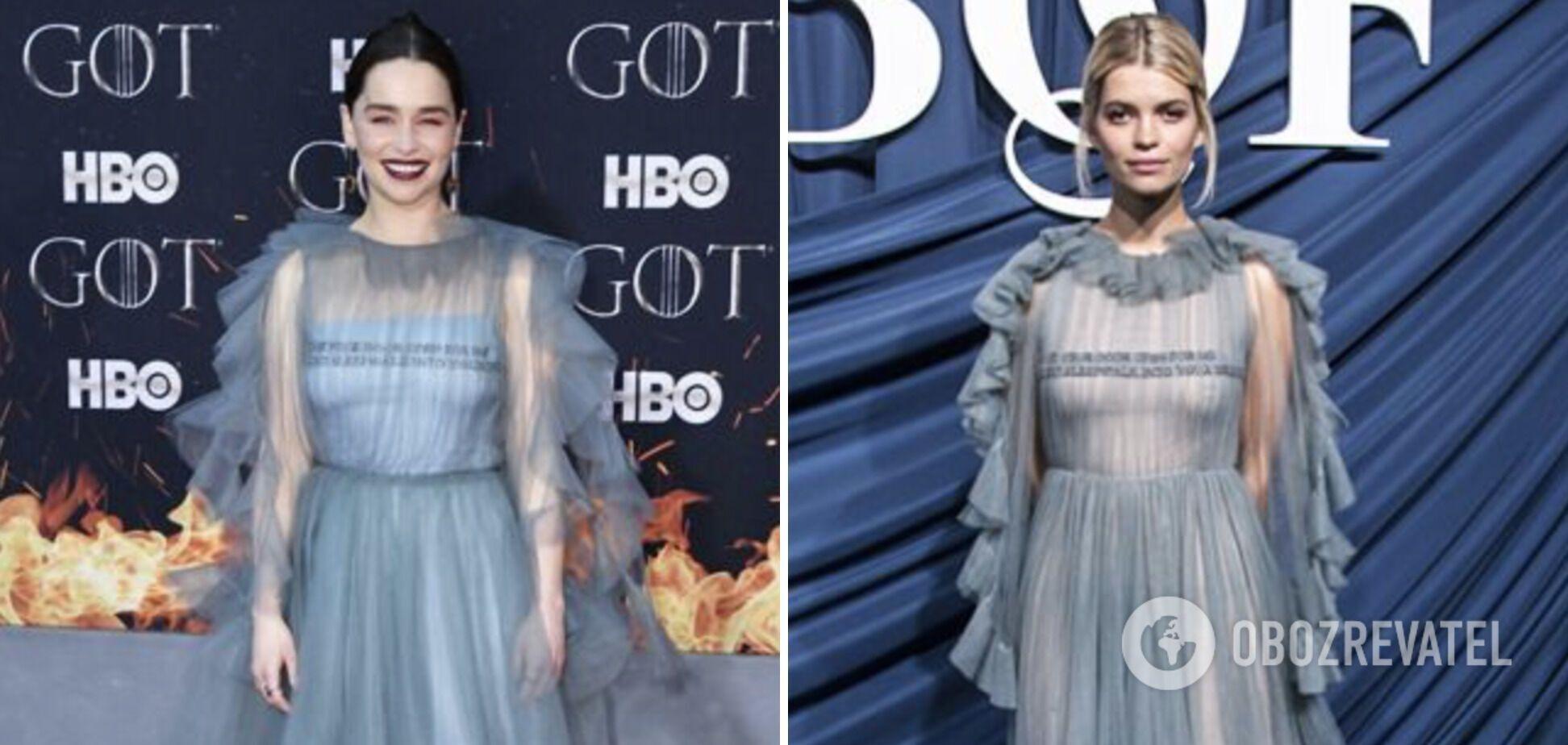 Эмилия Кларк и Пикси Гелдоф в голубом полупрозрачном платье.