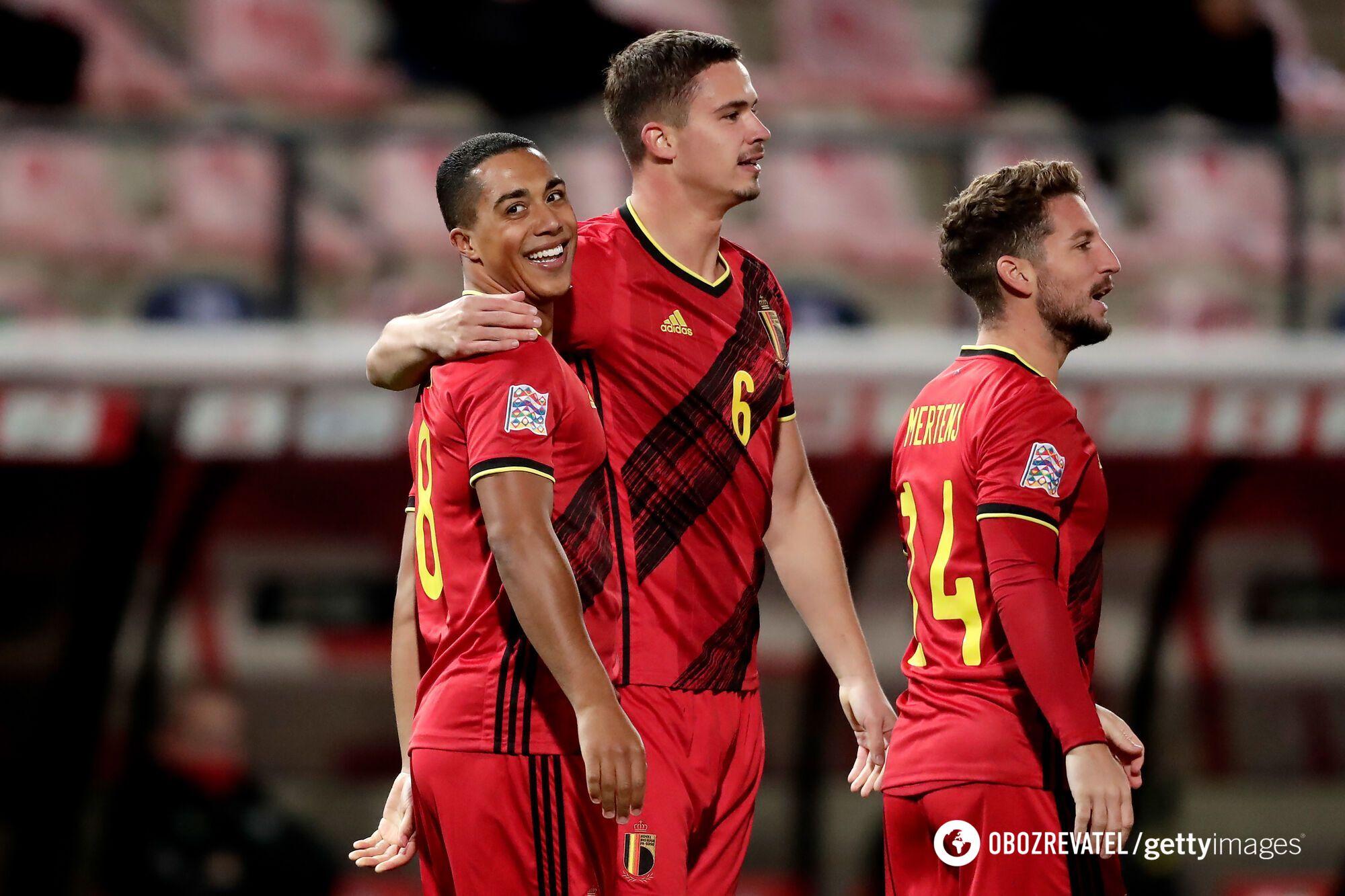 Бельгия празднует гол в ворота Дании в Лиге наций