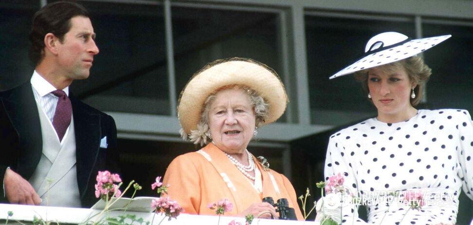 Принц Чарльз, королева-мать Елизавета Боуз-Лайон и принцесса Диана