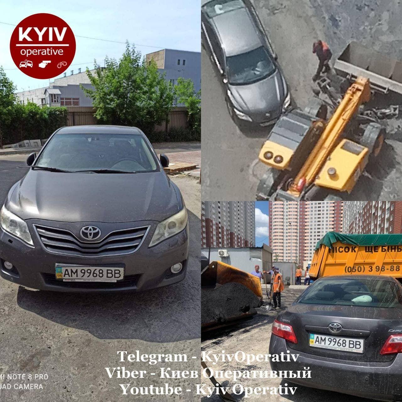 В Киеве герой парковки оставил свое авто на выезде из двора многоэтажки.