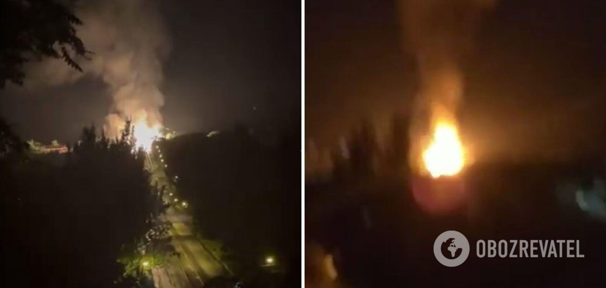 В результате взрыва на месте образовалось сильное возгорание