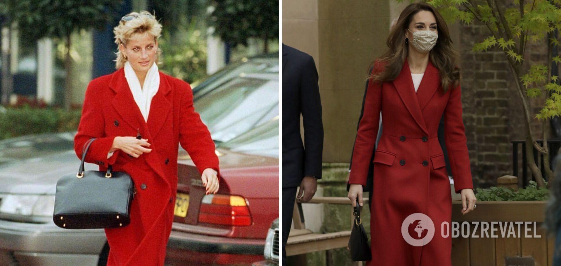 Принцеса Діана і Кейт Міддлтон в червоних пальто і білих блузах