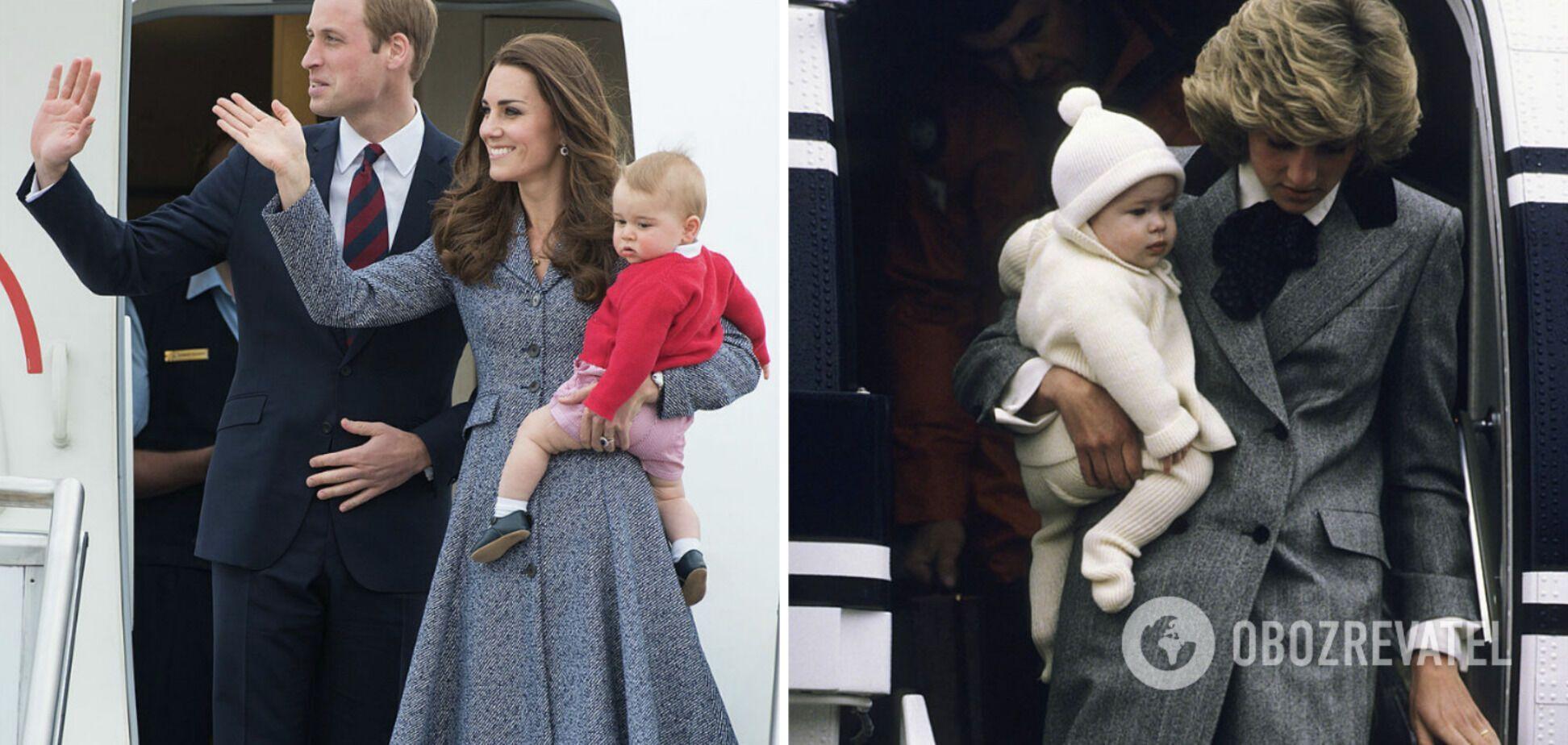 Кейт Міддлтон і принцеса Діана виходять з літака з синами на руках