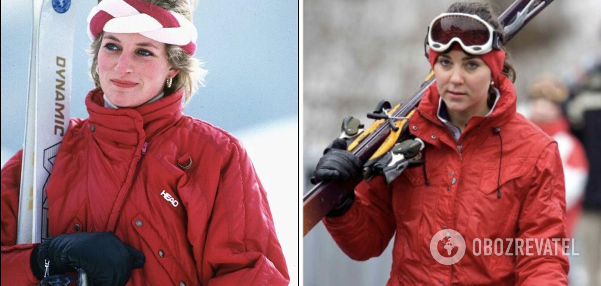 Кейт Міддлтон і принцеса Діана каталися на лижах у схожих червоних куртках