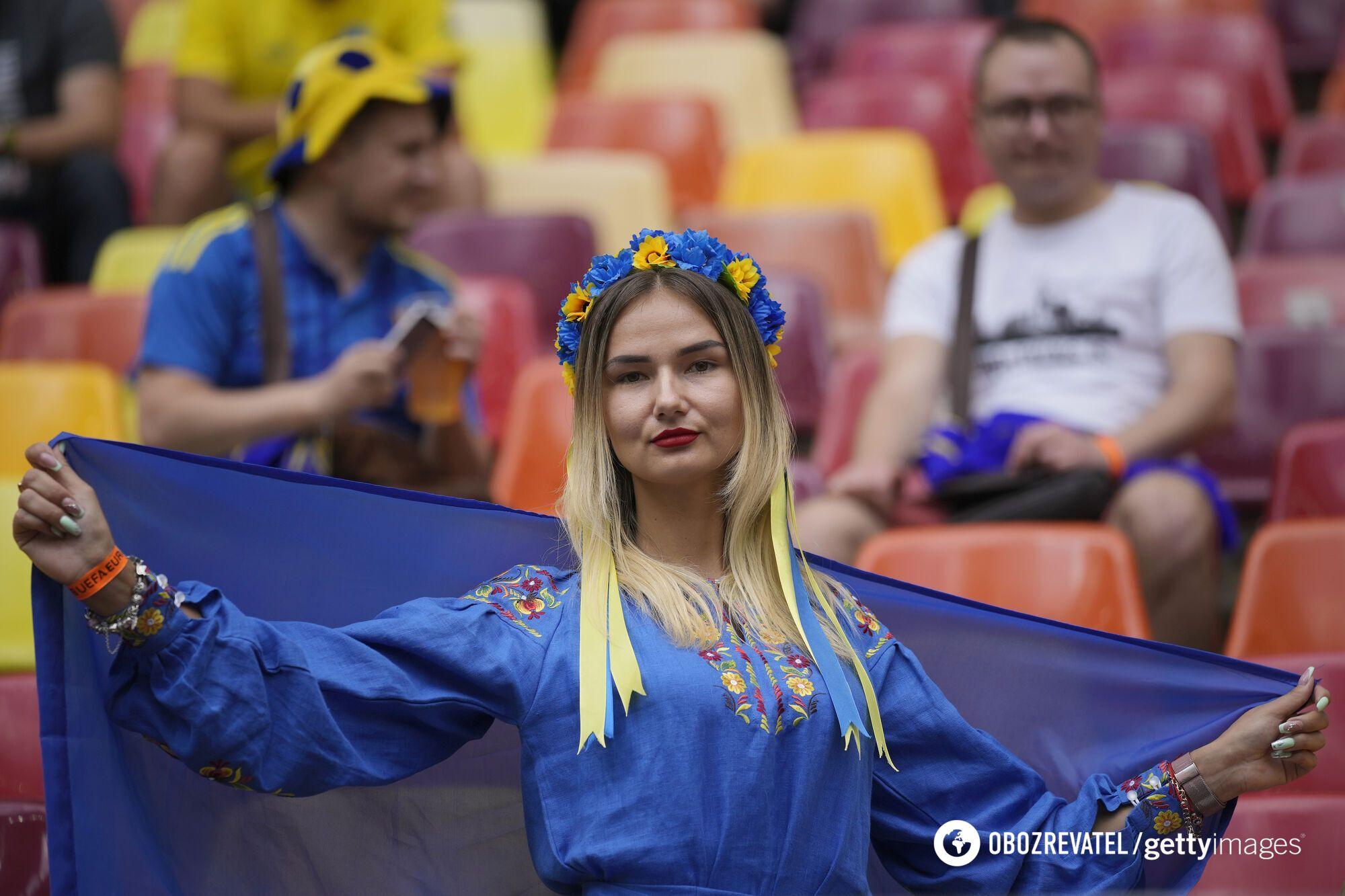 Украинская болельщица на матче Украина - Северная Македония
