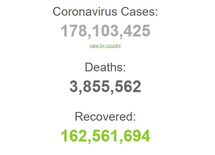 Коронавирусом болели 178,1 млн человек с начала пандемии.