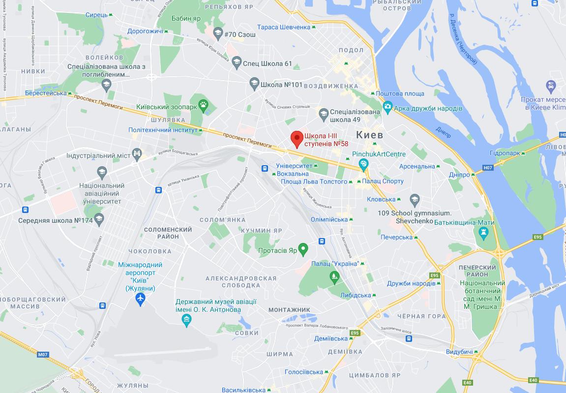 Школа №58 розташована в Шевченківському районі Києва.