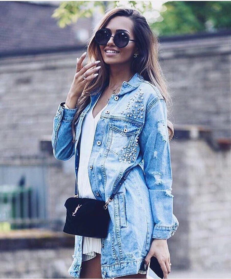 Подовжена джинсова куртка