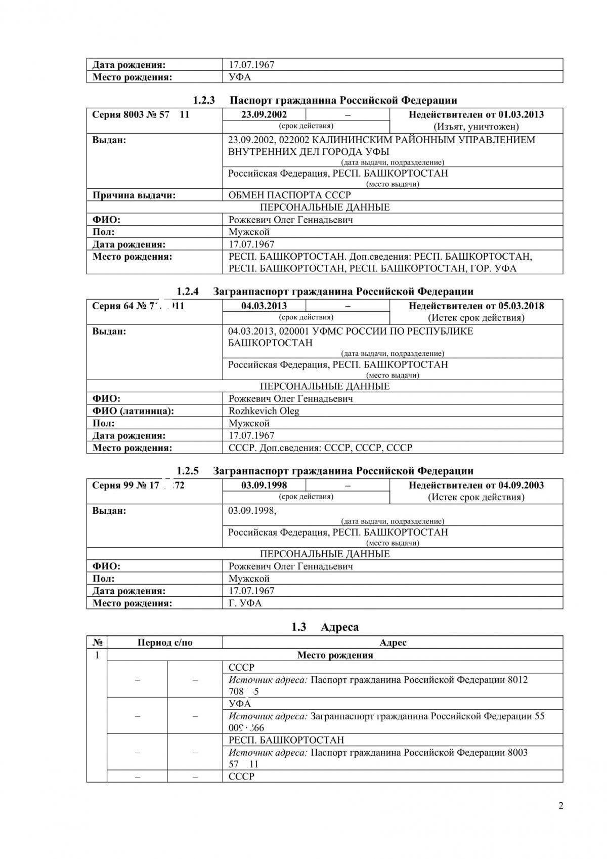 Копия российского паспорта Рожкевича, фото 2