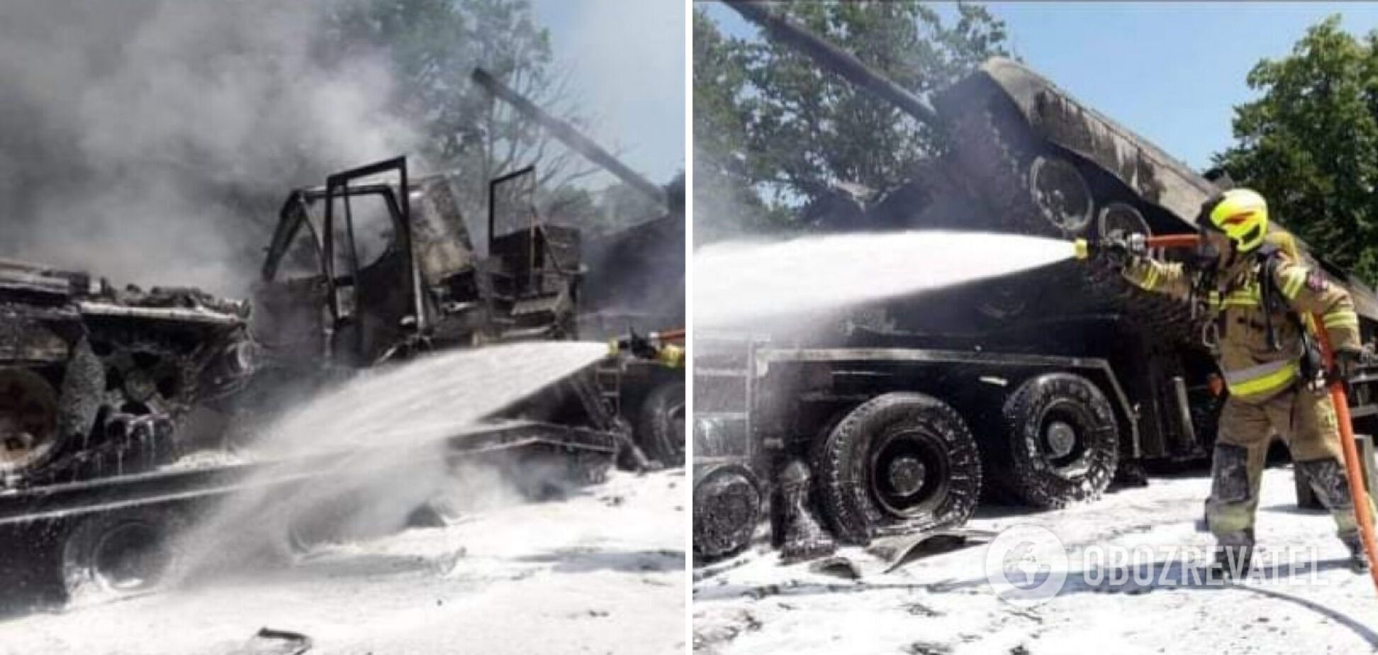 На месте аварии возник пожар