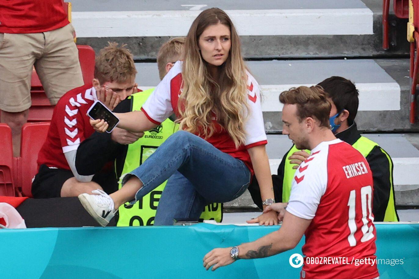 Сабріна Квіст Йенсен під час інциденту на стадіоні в Копенгагені