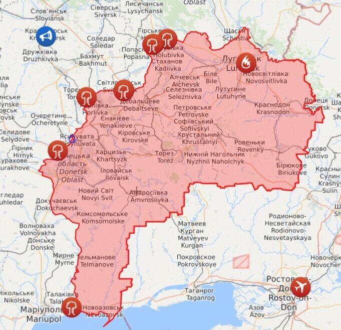Карта войны на Донбассе
