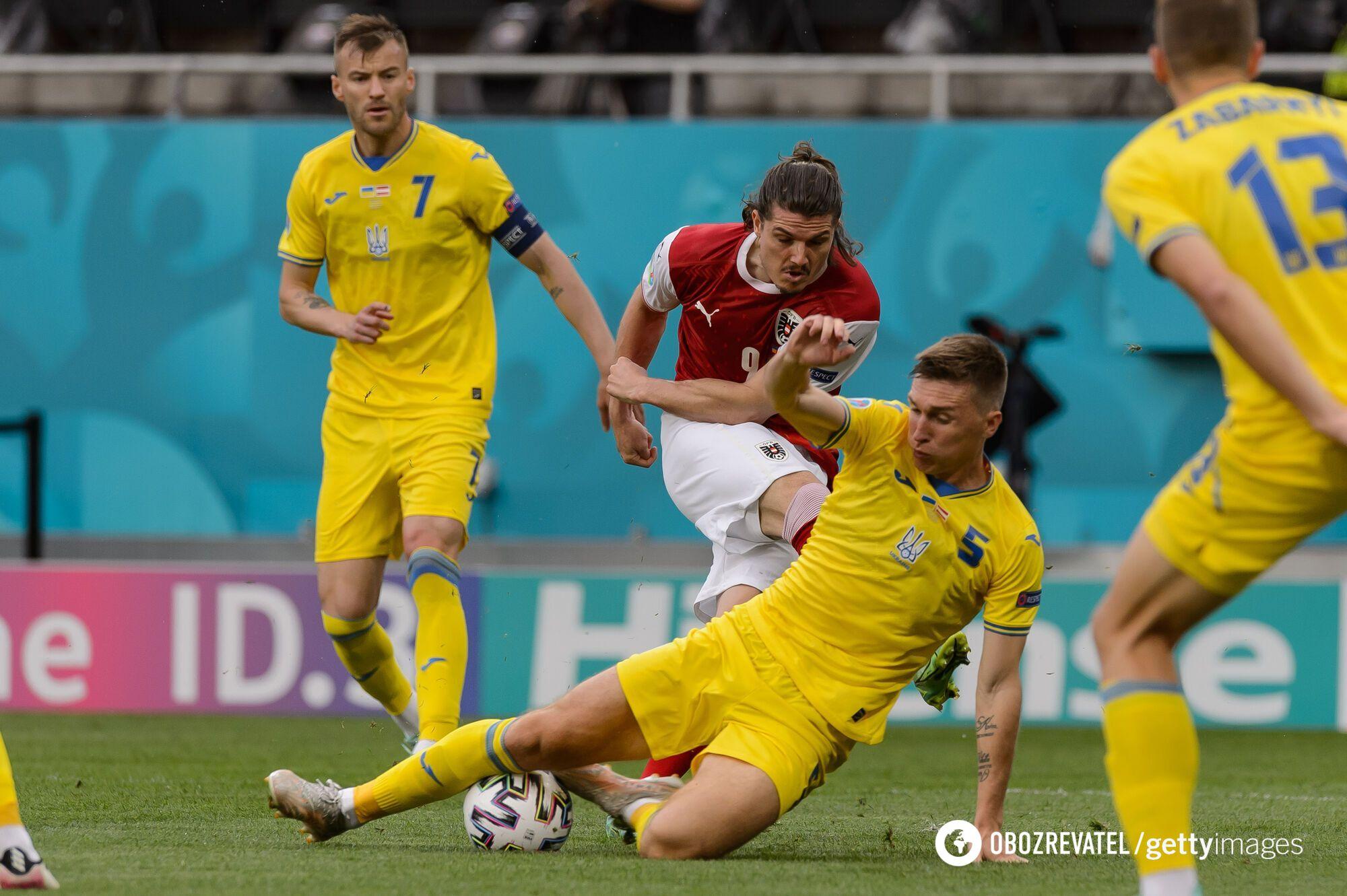 Украинцы в матче с Австрией.