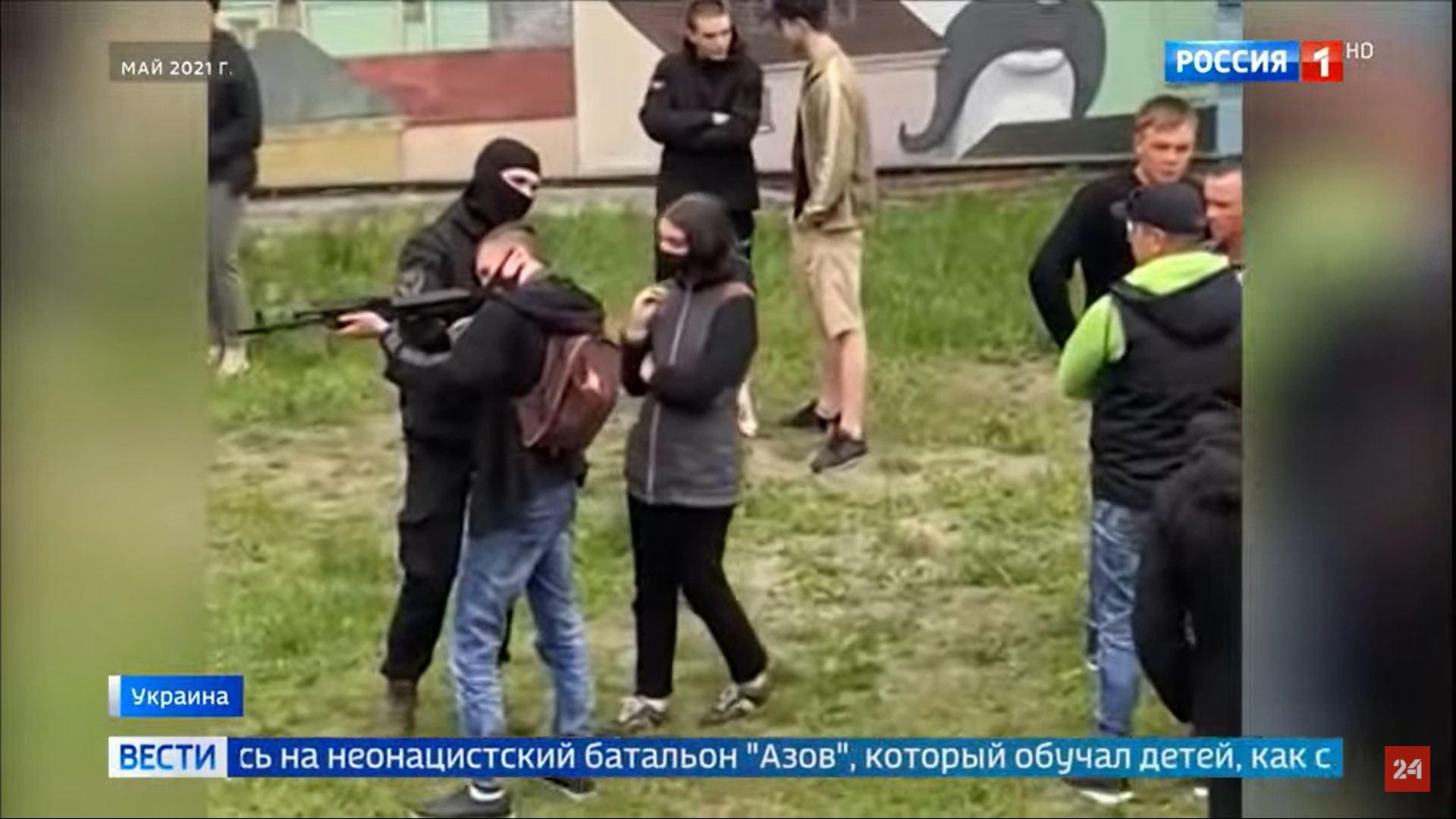 Кадры сюжета пропагандистского телеканала .