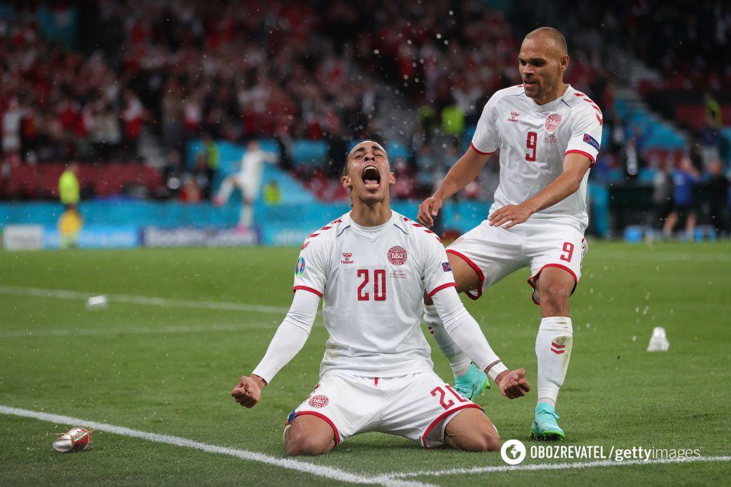 Юссуф Поульсен забил второй гол Дании в матче с Россией.