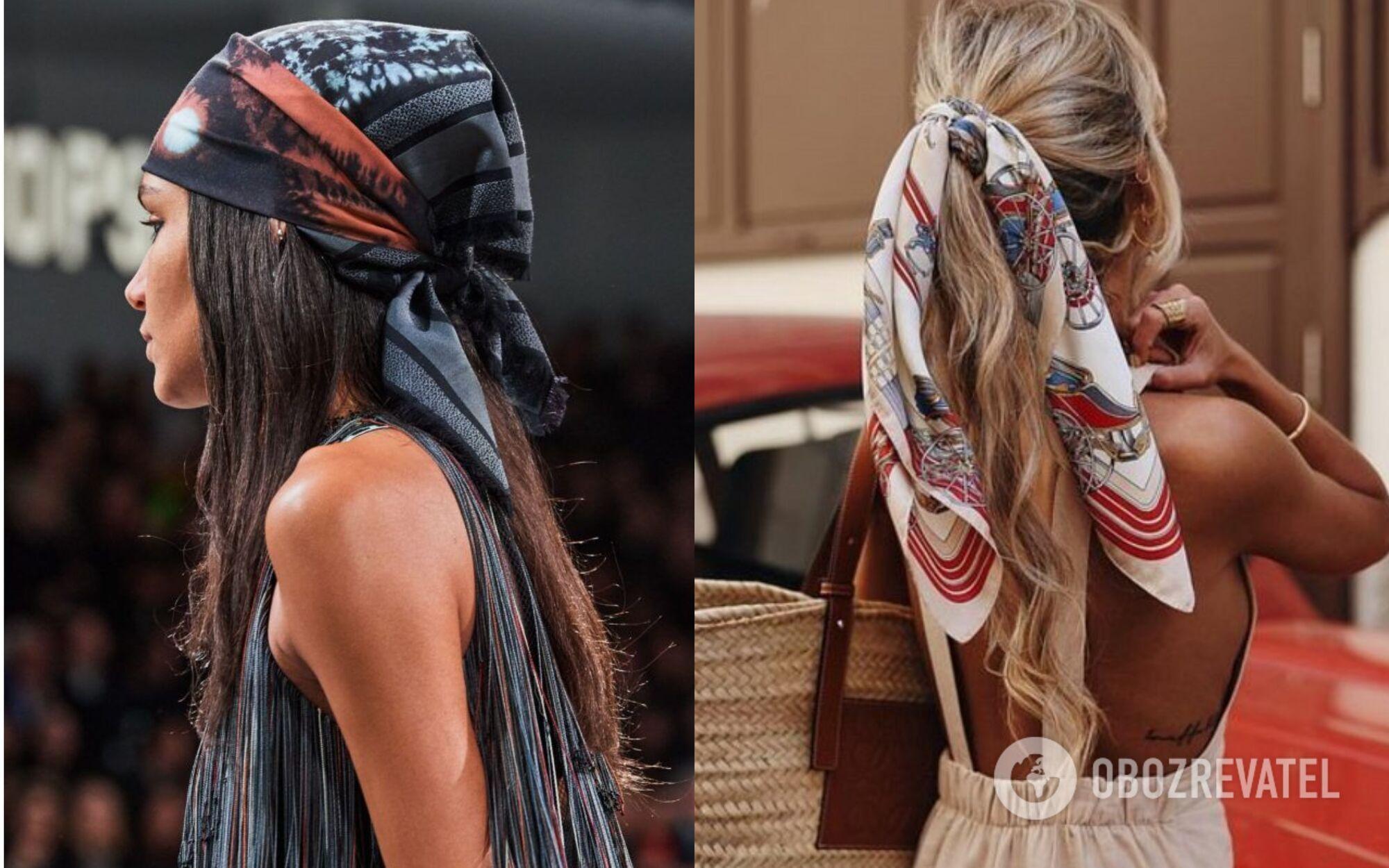 Натхнення для зачісок з бантами можна підглянути у брендів Ashley Williams і Giambattista Valli, а як носити хустки – у Christian Dior, Simone Rocha