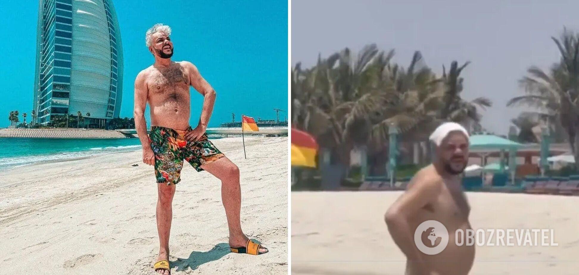 Филипп Киркоров в соцсетях и реальной жизни на пляже в Дубае