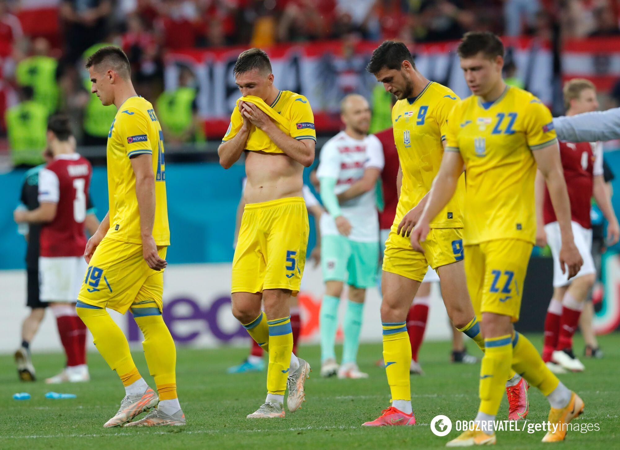 Гравці збірної України після поразки від Австрії