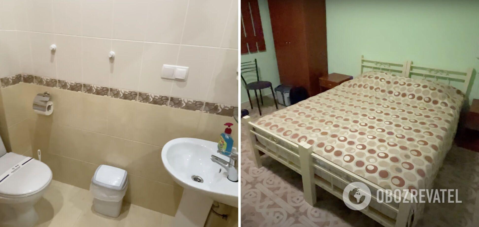 В гостиничном номере есть кровать, санузел, душ, холодильник и диван.