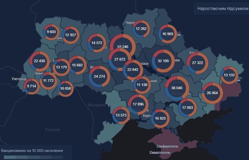Количество привитых жителей регионов (вторая доза)