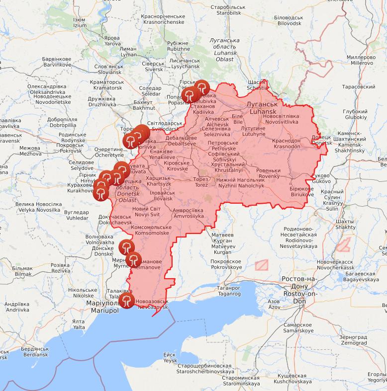 Карта обстрелов на Донбассе.