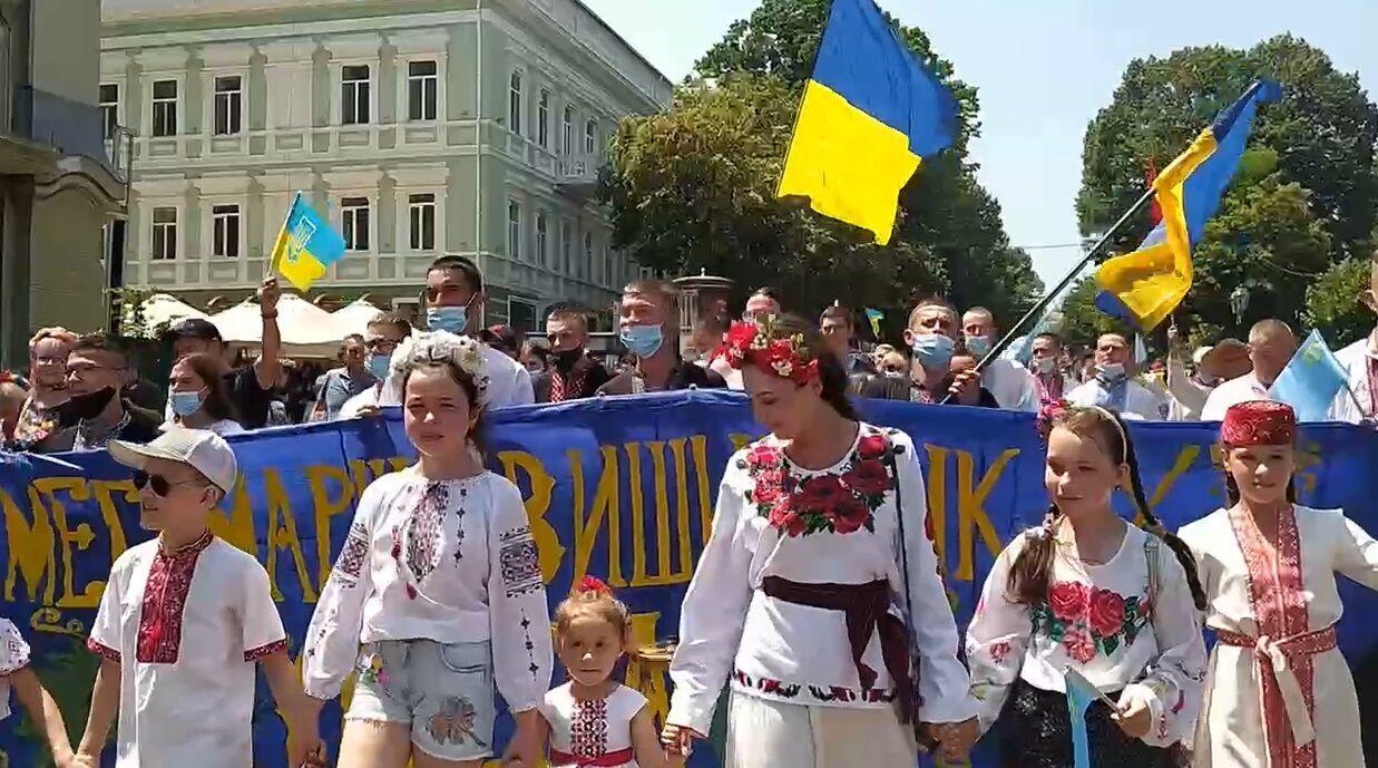 Марш в вышиванках в Одессе.