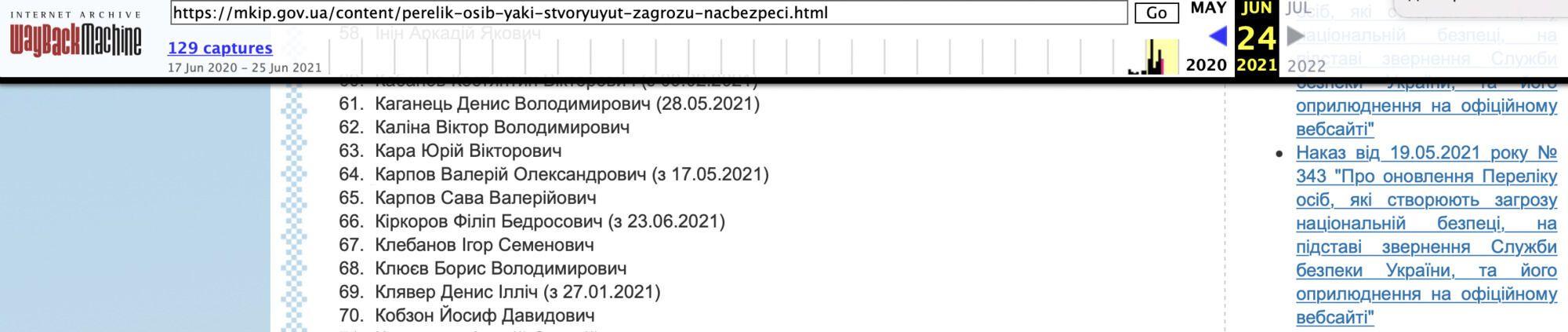 Еще 24 июня Киркоров был в списке под номером 66