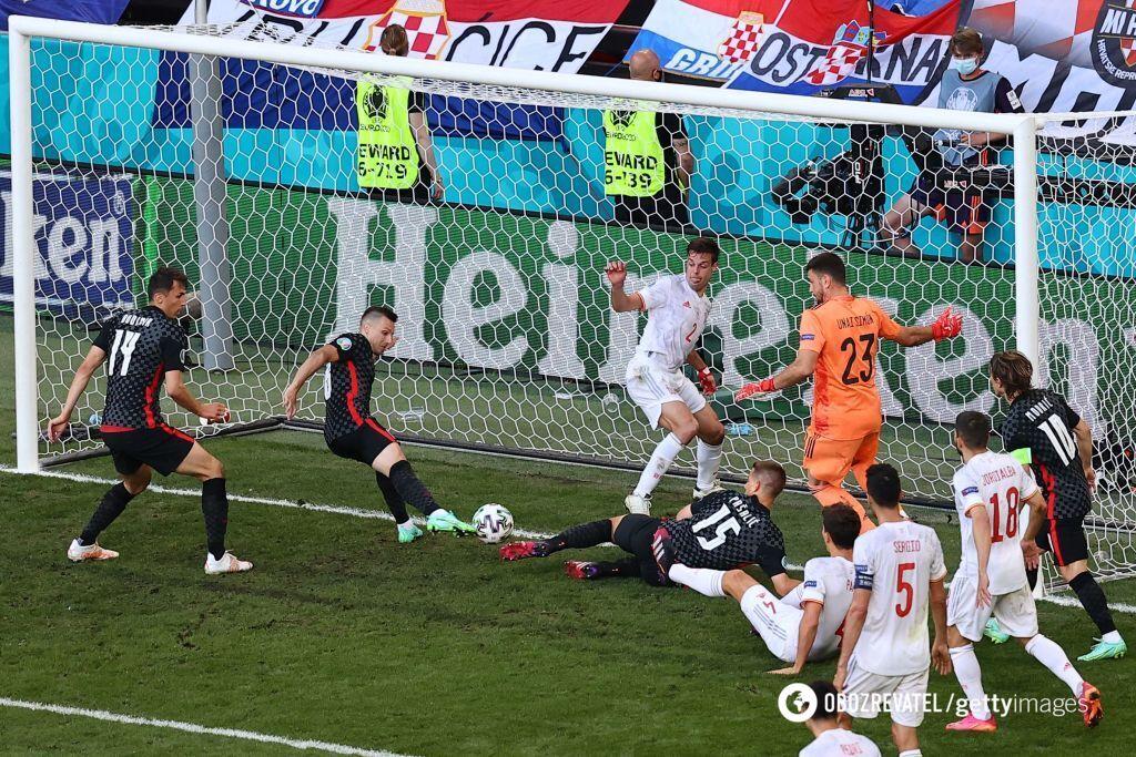 Второй гол хорватов в ворота Испании.