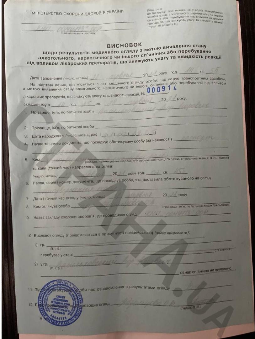 Вывод о проверке Игоря Васильковского на употребление аклоголя