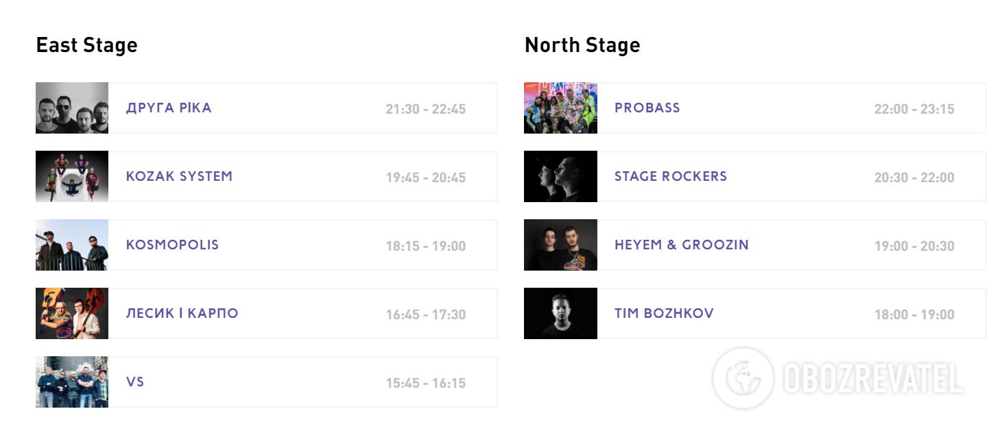 East Stage і North Stage: учасники 5 і 6 липня
