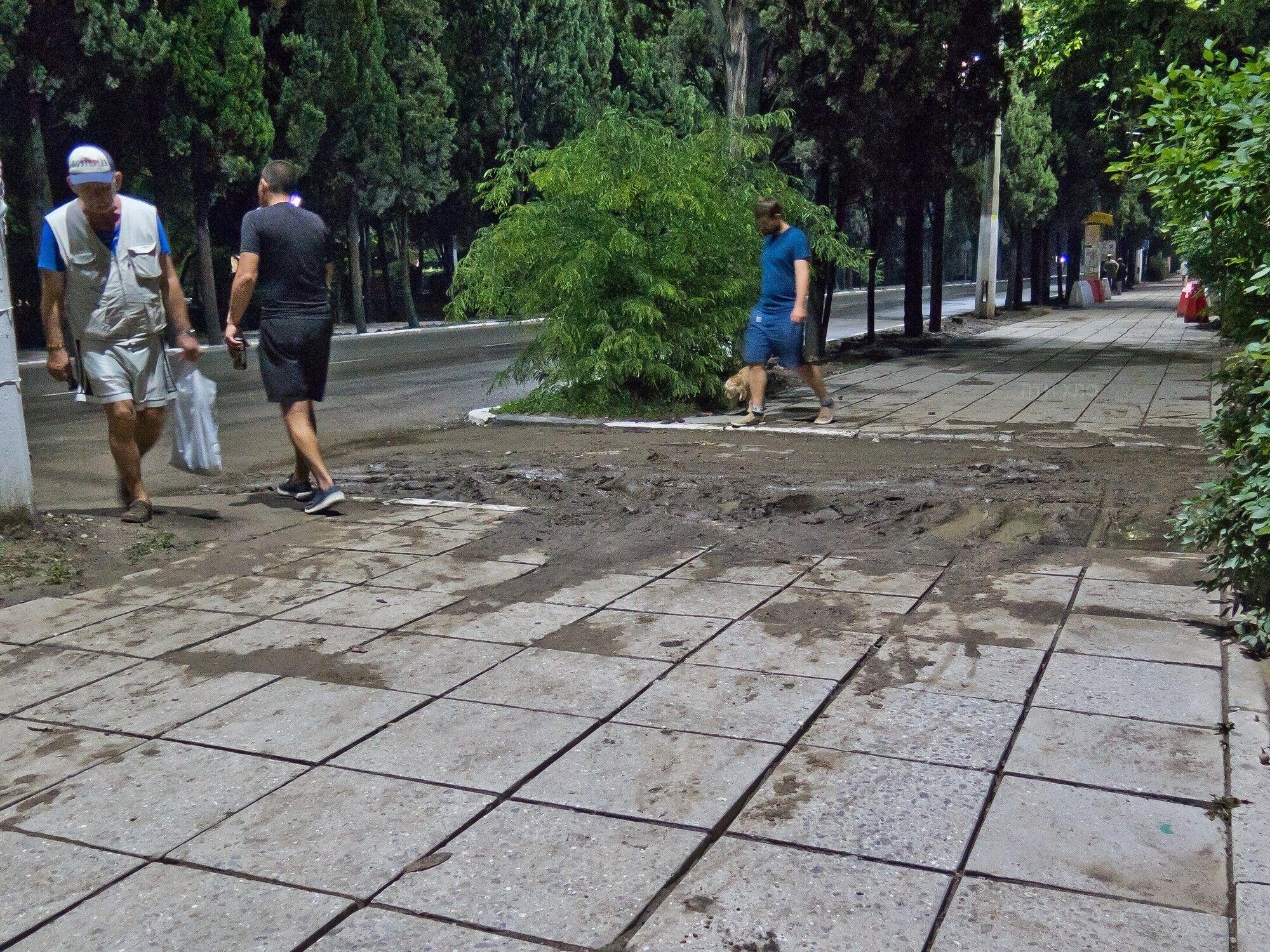 Московскую улицу отмыли. Но съезды с неё во дворы (и, заодно, по сути, части идущего вдоль неё тротуара) выглядят так