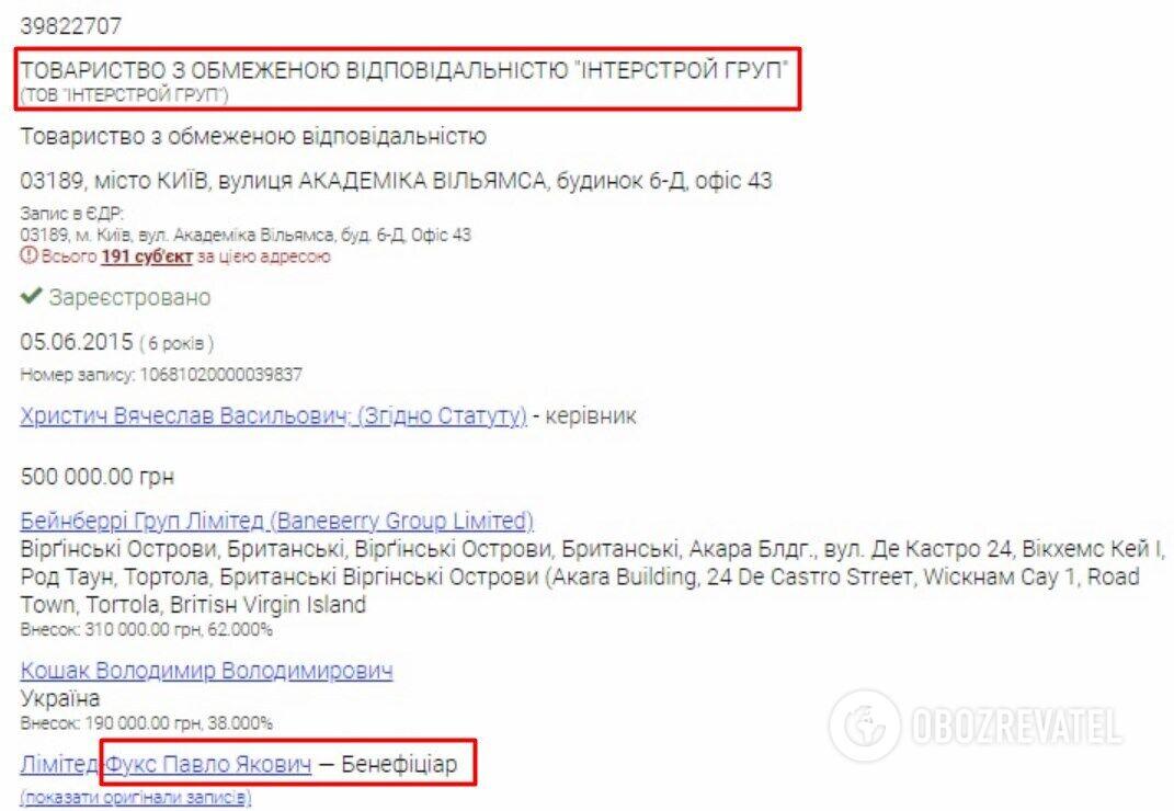"""Бенефіціаром ТОВ """"Інтерстрой Груп"""" на сьогодні є Павло Фукс"""