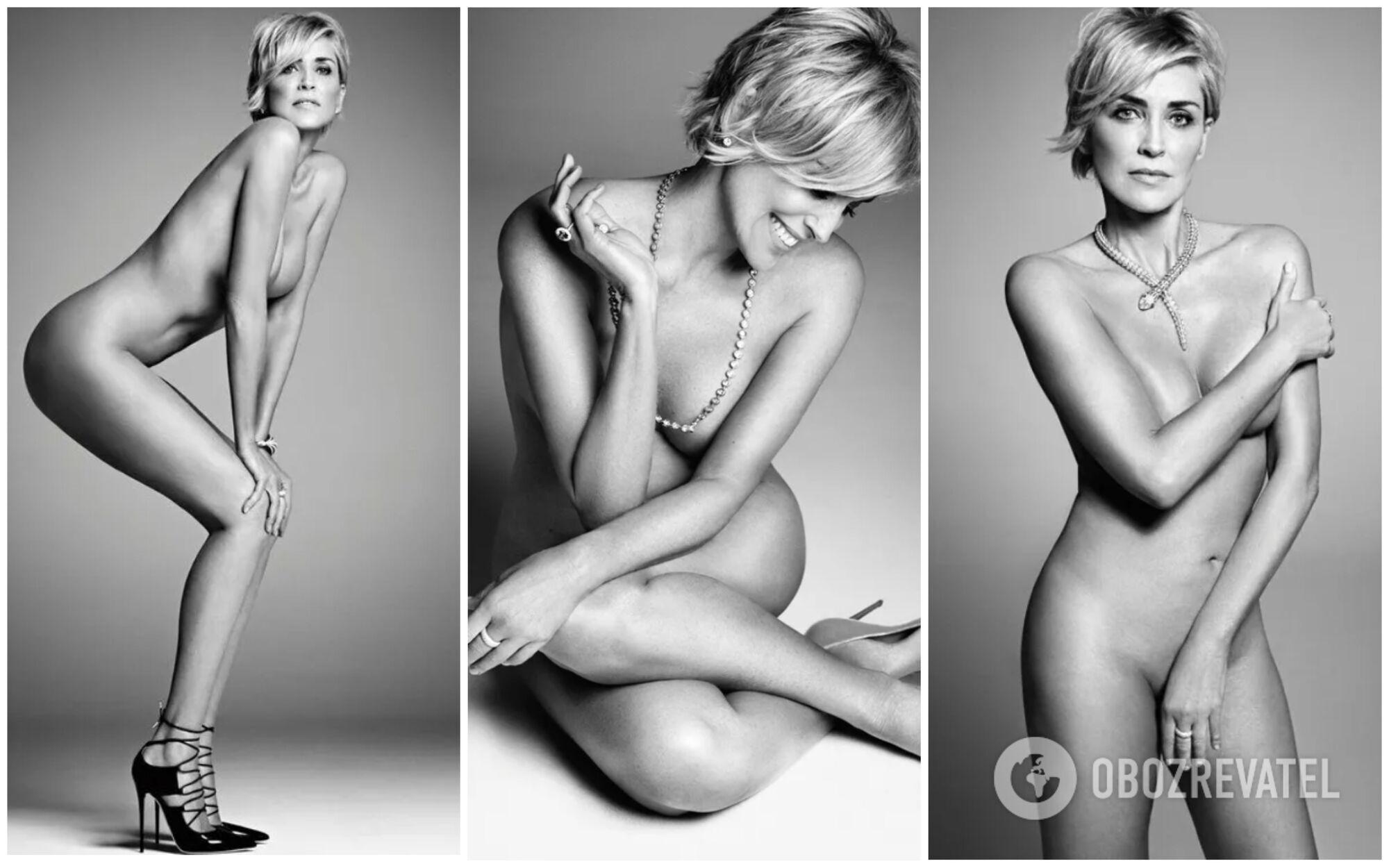 Акторка Шерон Стоун повністю оголилася для американського Harper's Bazaar.