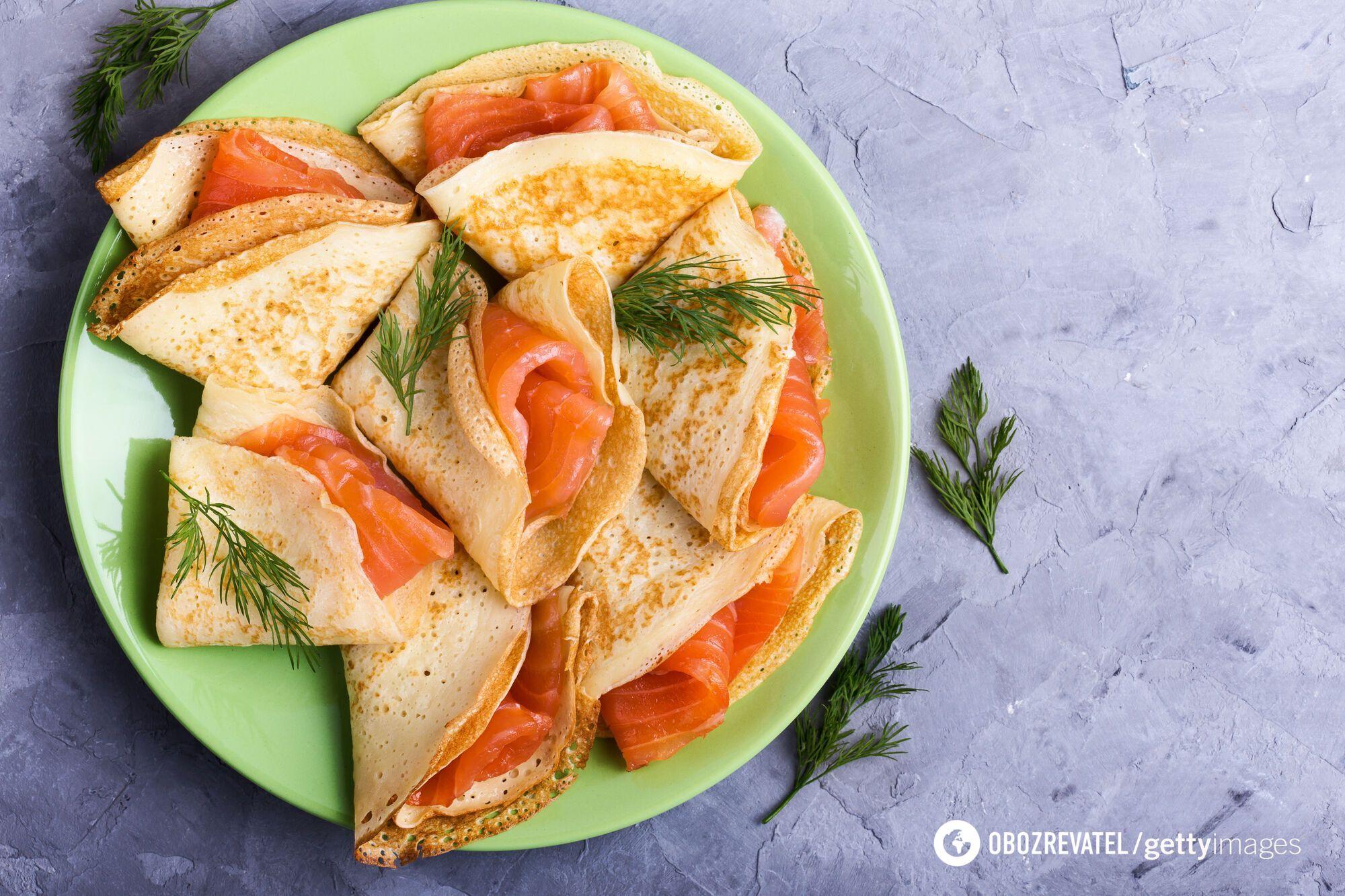 Вкусные блины с лососем