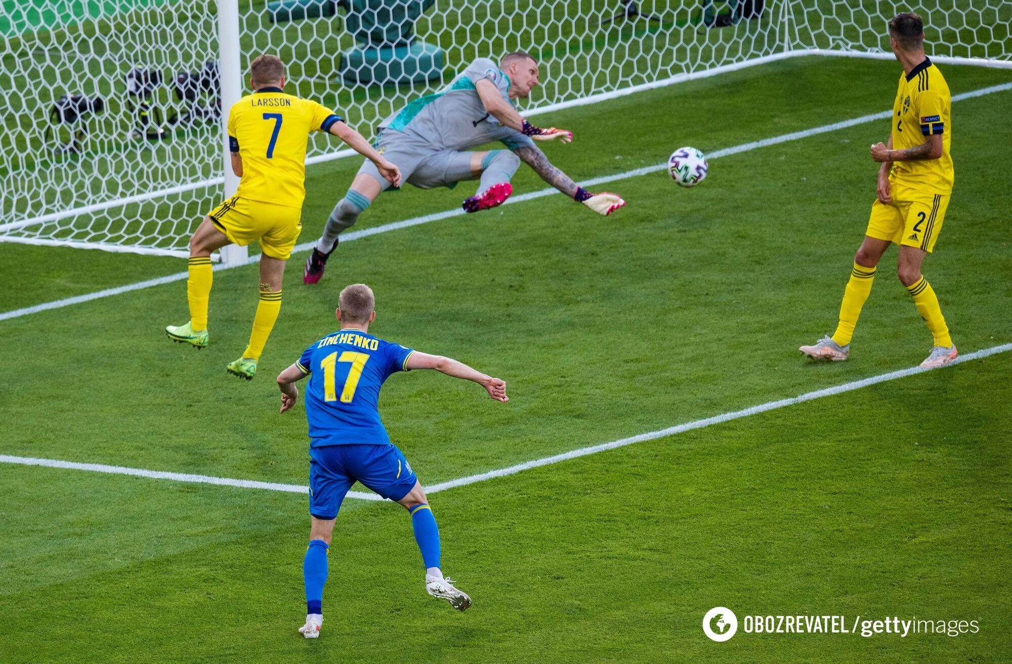 Зінченко вразив ворота Швеції.