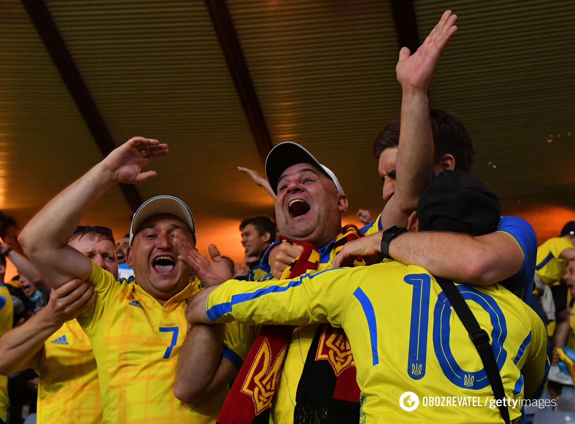 Українські вболівальники на матчі в Глазго