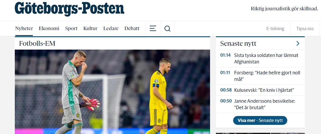 Журналист Goteburgs-Posten считает, что Швеция должна была выходить в 1/4 финала
