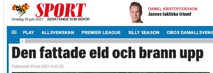 """Газета Expressen вышла с заголовком: """"Сгорели в плей-офф"""""""