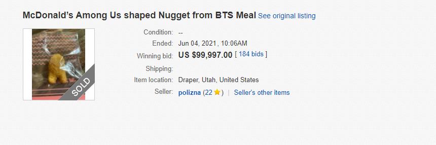 Наггетс продали на аукционе почти за 100 тысяч долларов