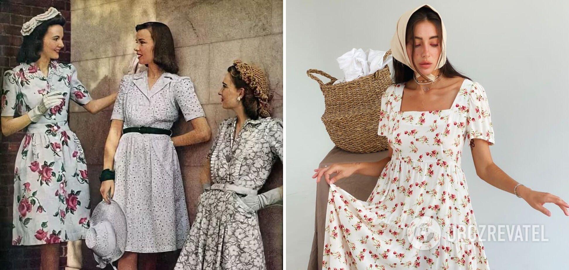 Нежные платья с цветочками были в тренде в СССР.