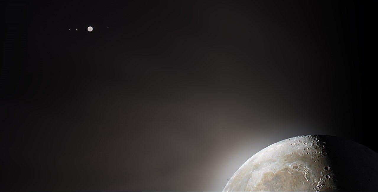 Місяць, Юпітер і його супутники: Ганімед, Каллісто, Іо