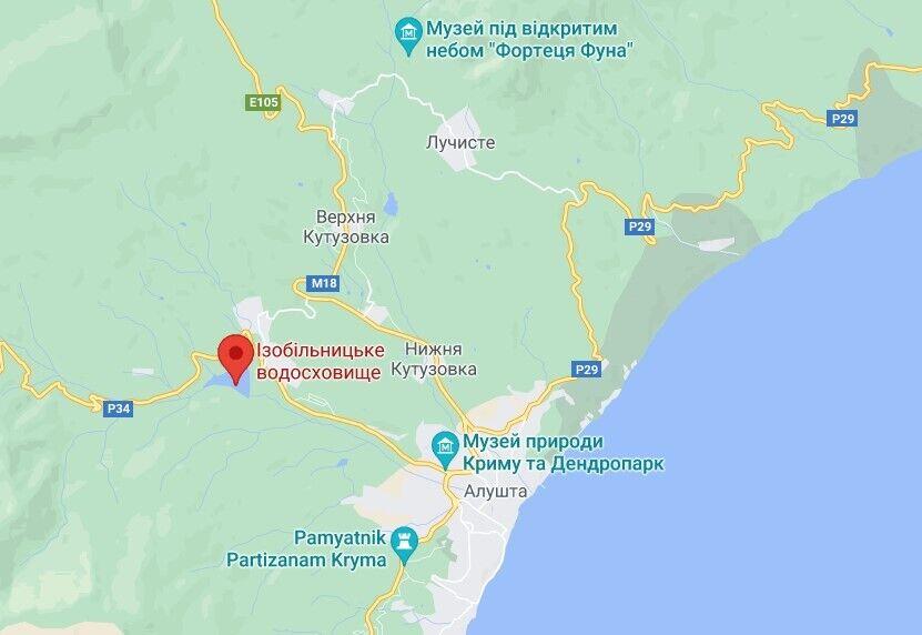 Ізобільненське водосховище в кримському селі Корбек