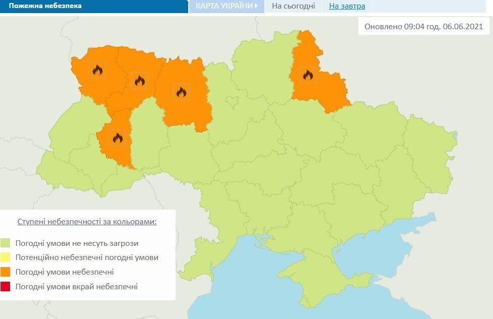 Предупреждение о пожарной опасности в регионах Украины 6 июня