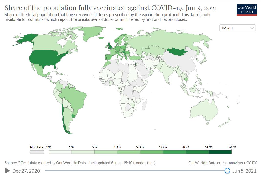 Доля населения, полностью вакцинированного от COVID-19. Карта.