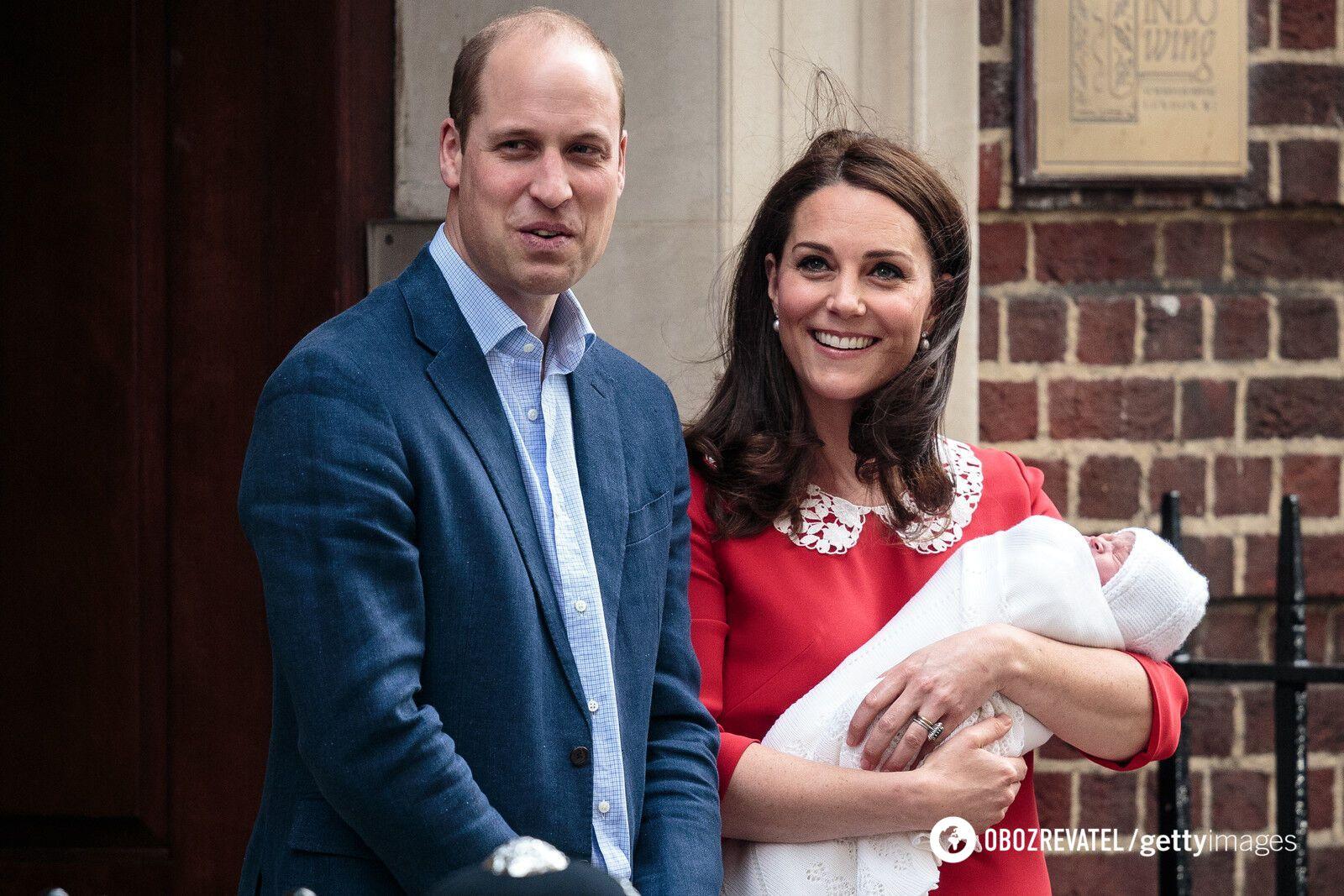 Кейт Миддлтон и принц Уильям после рождения принца Луи