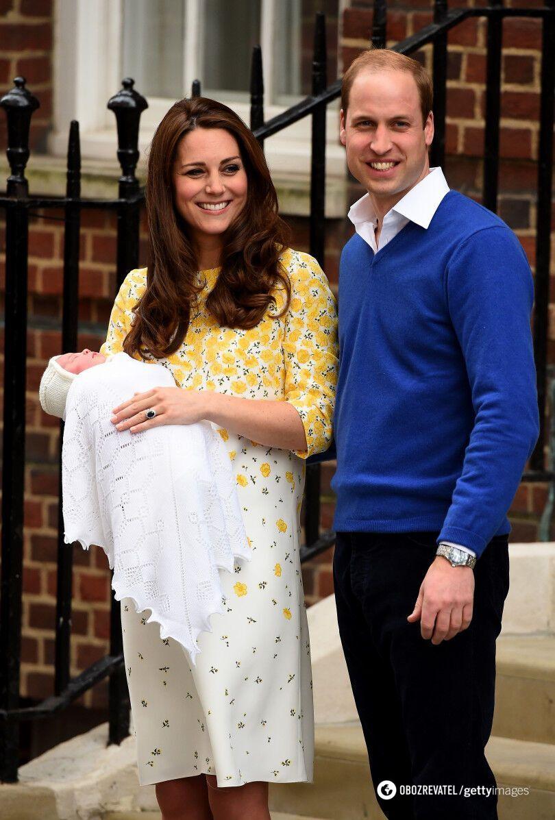 Кейт Миддлтон и принц Уильям после рождения принцессы Шарлотты