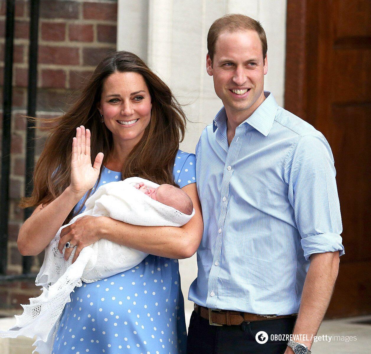 Кейт Миддлтон и принц Уильям после рождения принца Джорджа